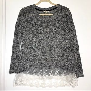 Meraki sz L sweater with lace ribbon bottom